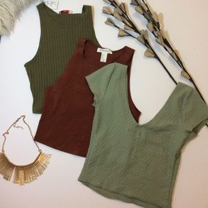 3 crop top, Holister, Fashion Q and forever 21